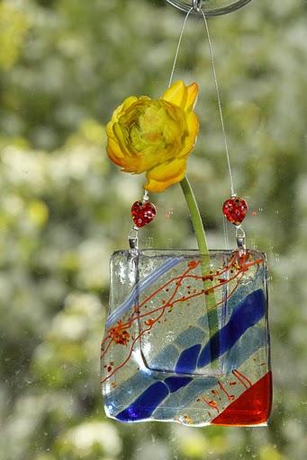 Diagonal Blue & Orange Window Vase