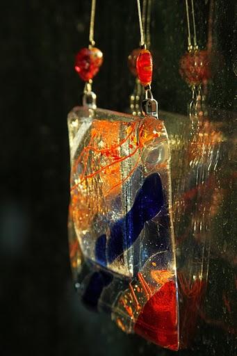 Blue/Orange Diagonal Window Vase