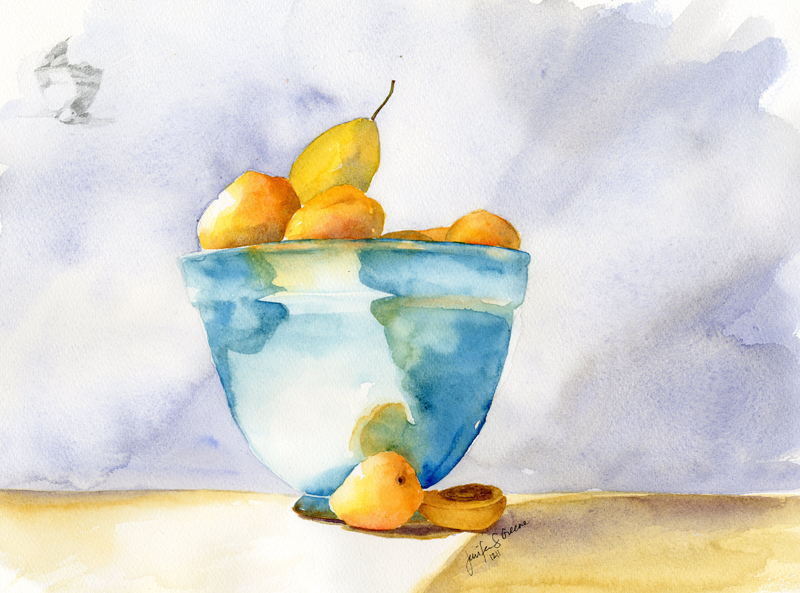 Apricots in a Blue Bowl Watercolor Painting