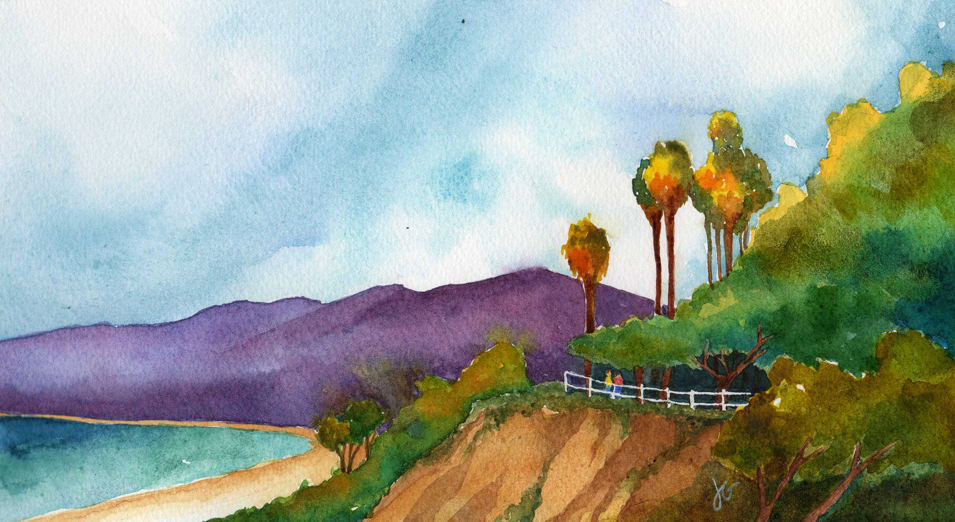 Cliffs at the Beach Watercolor Painting