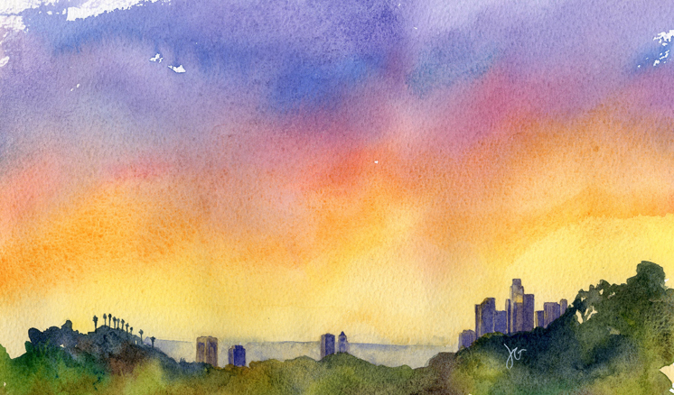 Downtown Los Angeles Skyline Watercolor Painting