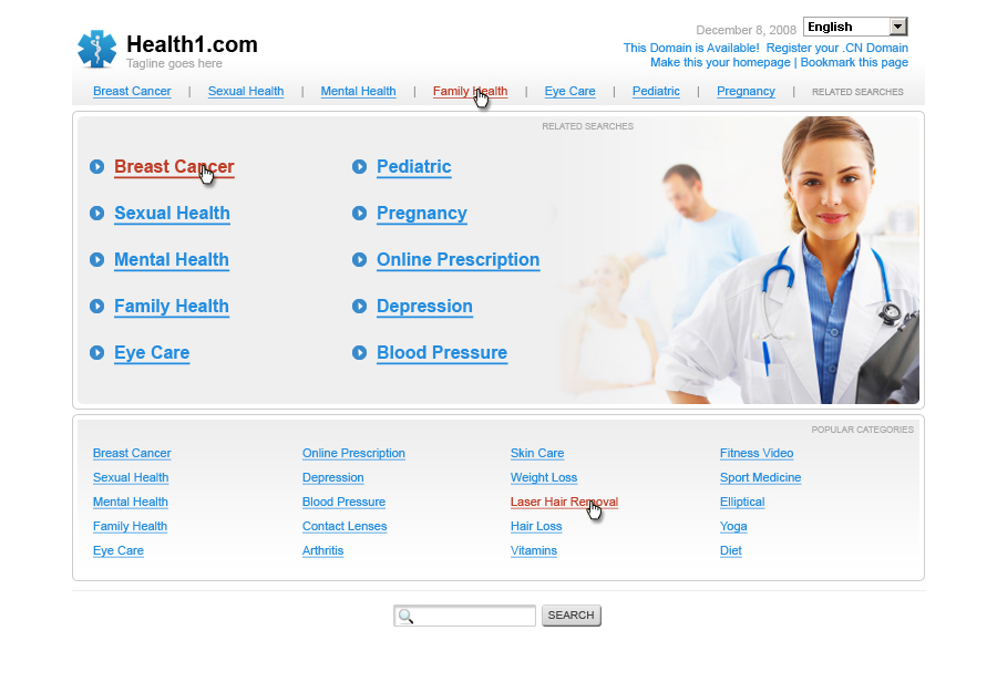 Landing page: health