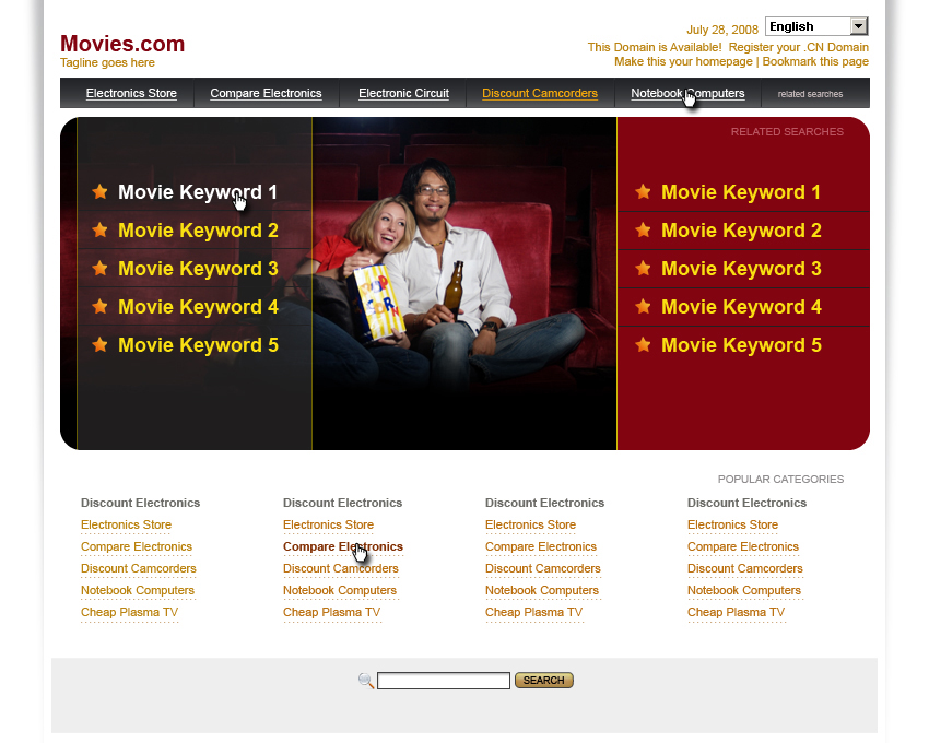 Landing page: movies
